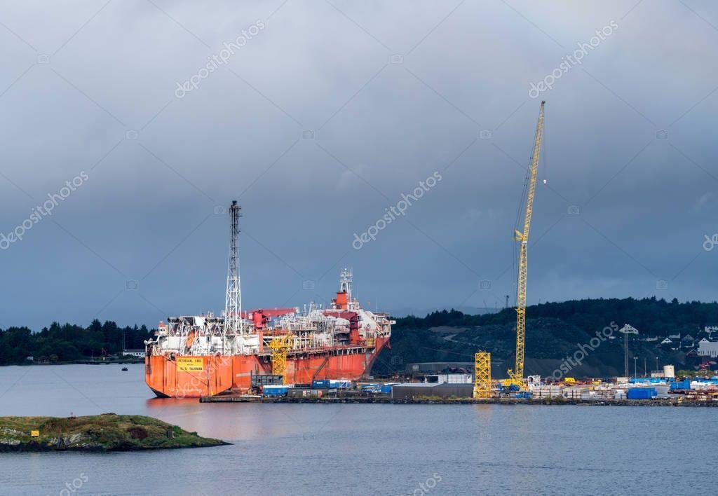 Oil rig construction ship in Stavanger Harbor