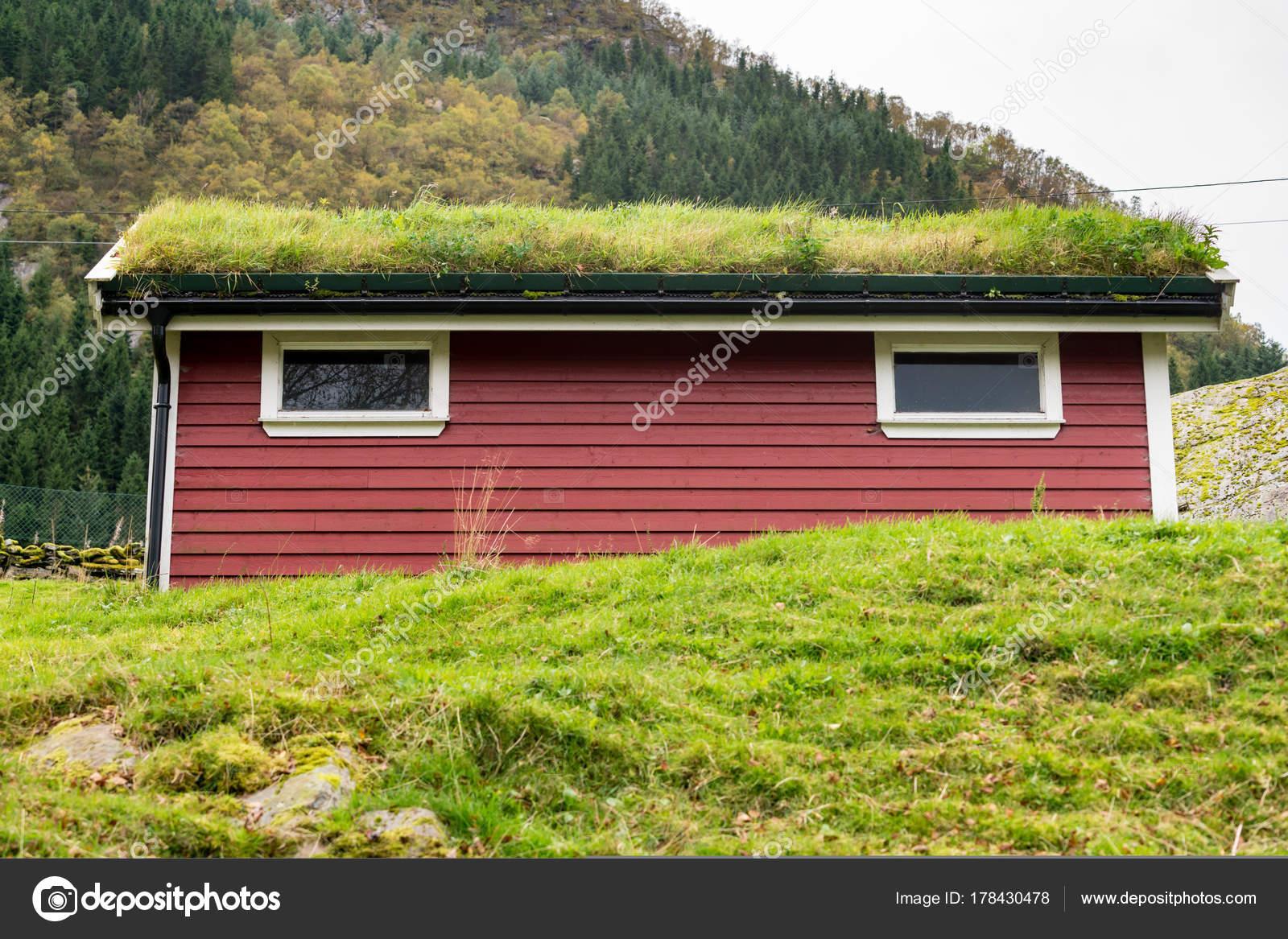 Rasen Rasen Als Dachmaterial Auf Norwegischen Stabile Stockfoto