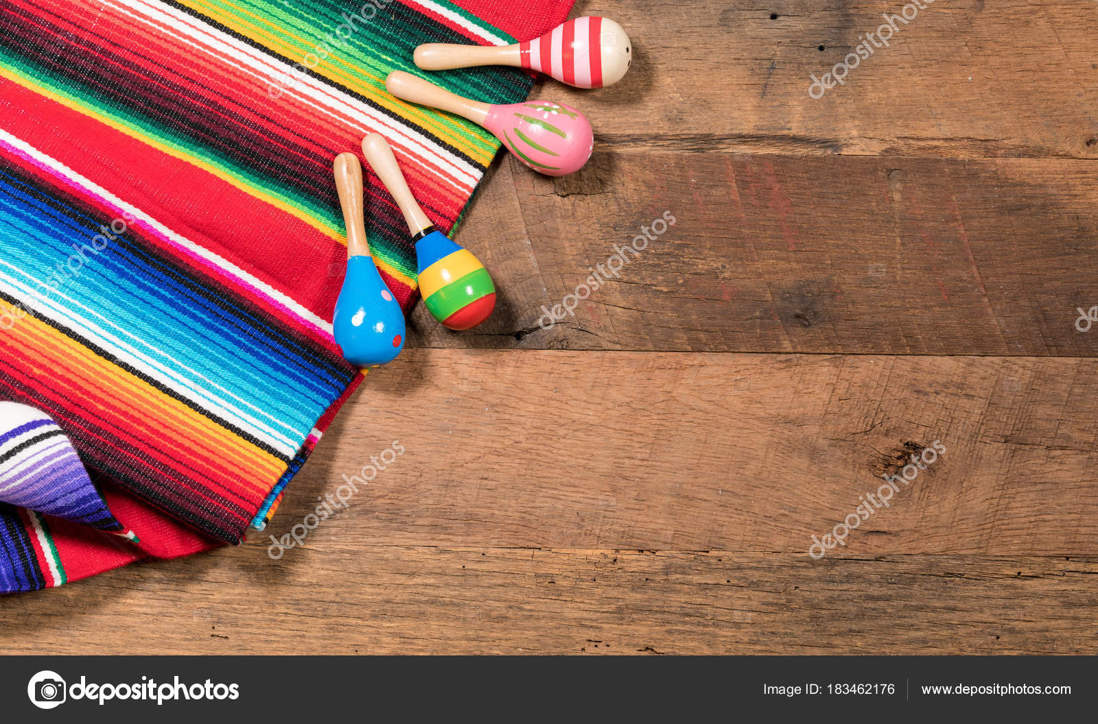Cinco De Mayo Background Image On With Maracas And Serape Wooden Rustic Boards Photo By Steveheap