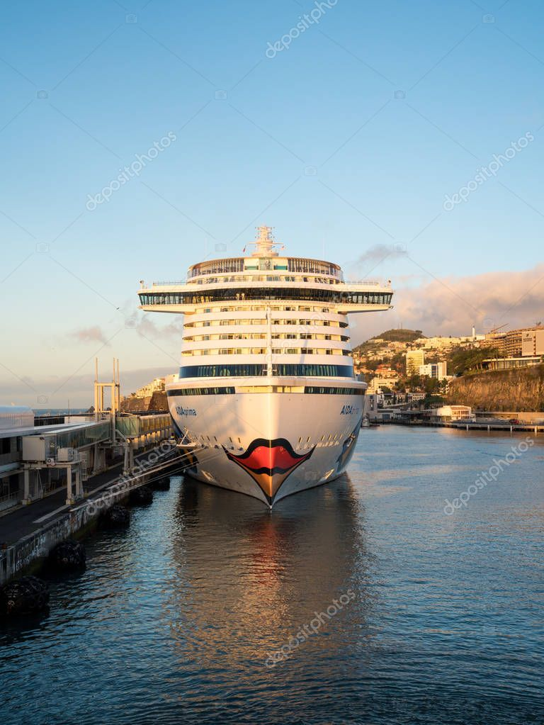Aidaprima docked in harbor at Funchal Madiera