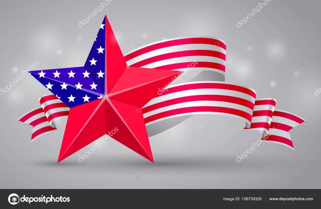 Banner With American Flag Ribbon Usa Flag Symbol 4 July Stock