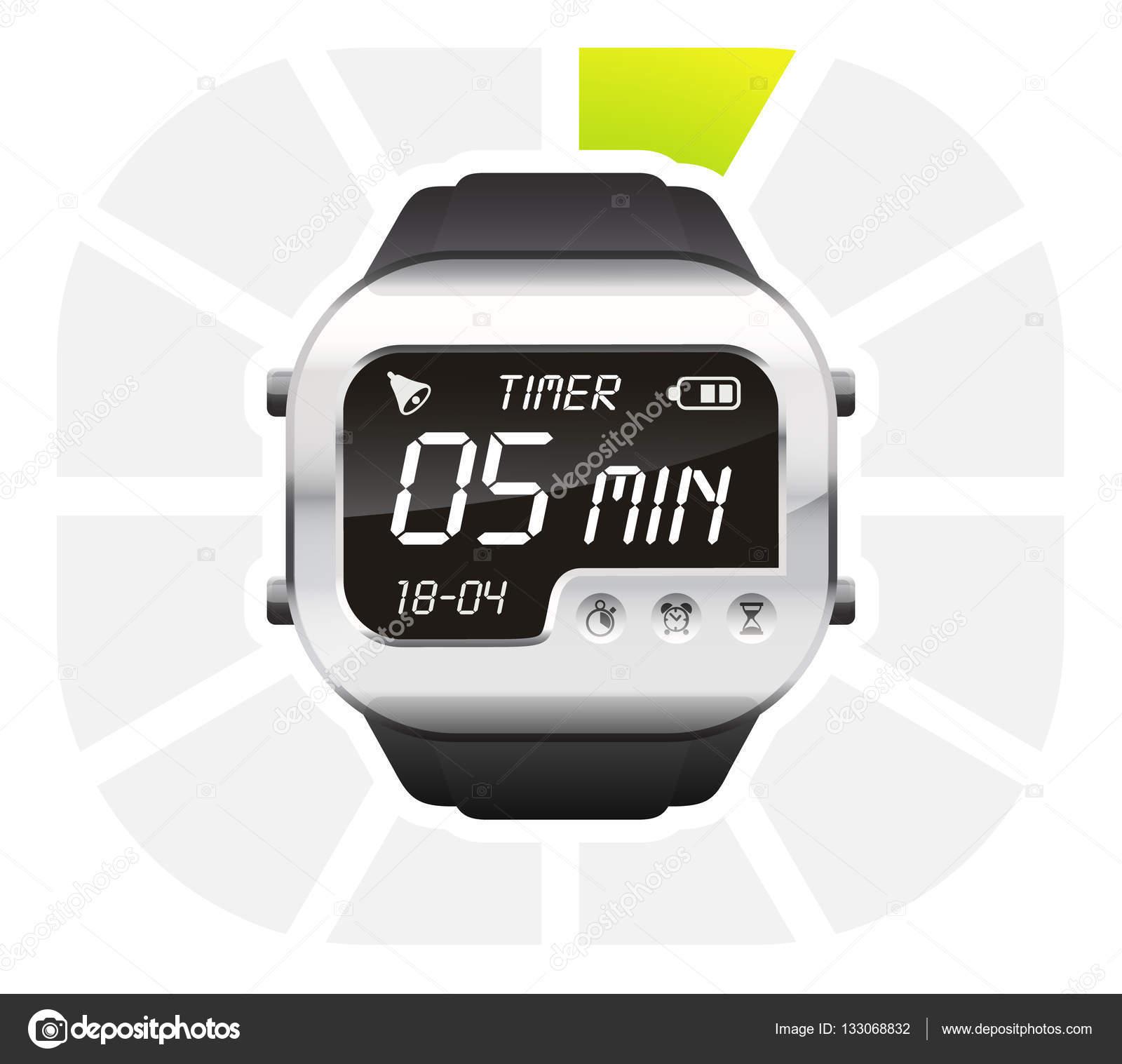 digital watch timer 5 minutes stock vector ayax55 133068832