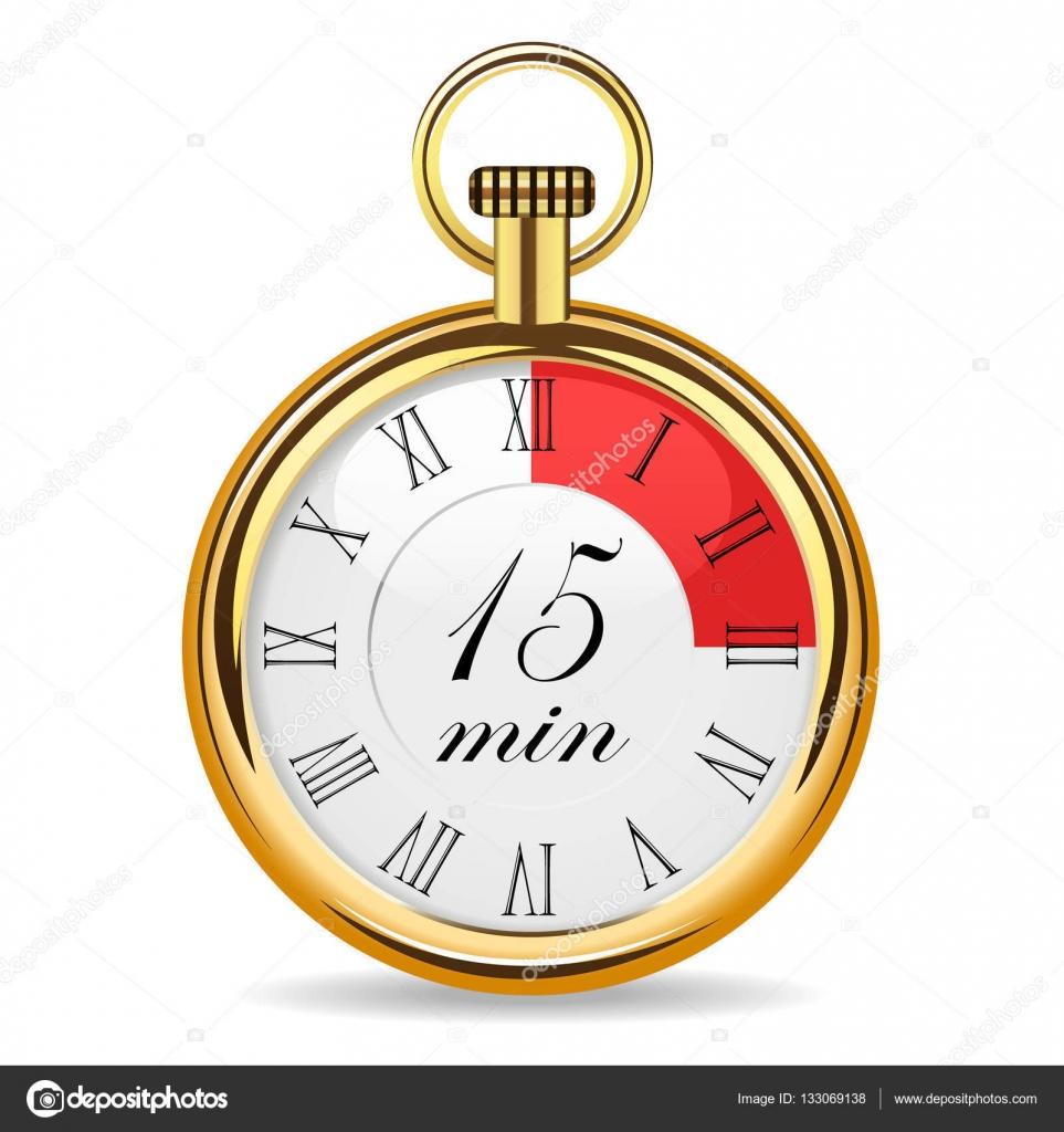 mechanische uhr timer 15 minuten — stockvektor © ayax55