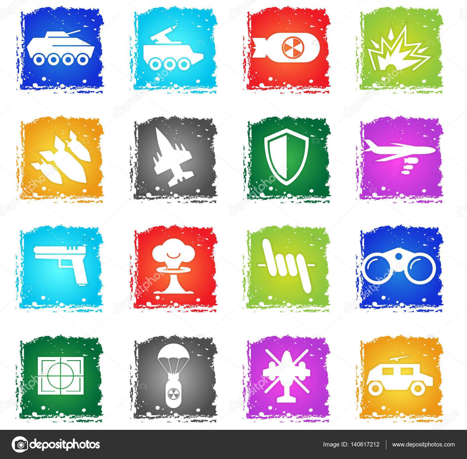 War Symbols Icon Set Stock Vector Ayax55 140617212