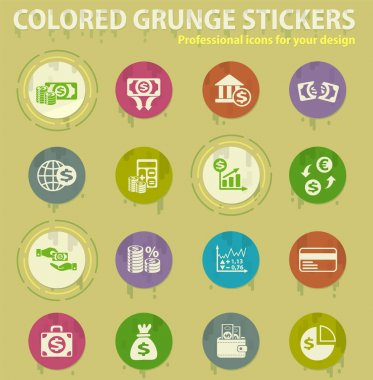 business finance colored grunge icons with sweats glue for design web and mobile applications