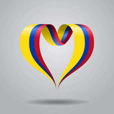 Colombian flag heart-shaped ribbon. Vector illustration.