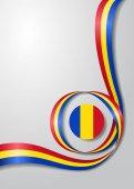 Rumunská vlajkou zvlněná pozadí. Vektorové ilustrace.