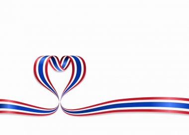 Thai flag heart-shaped ribbon. Vector illustration.