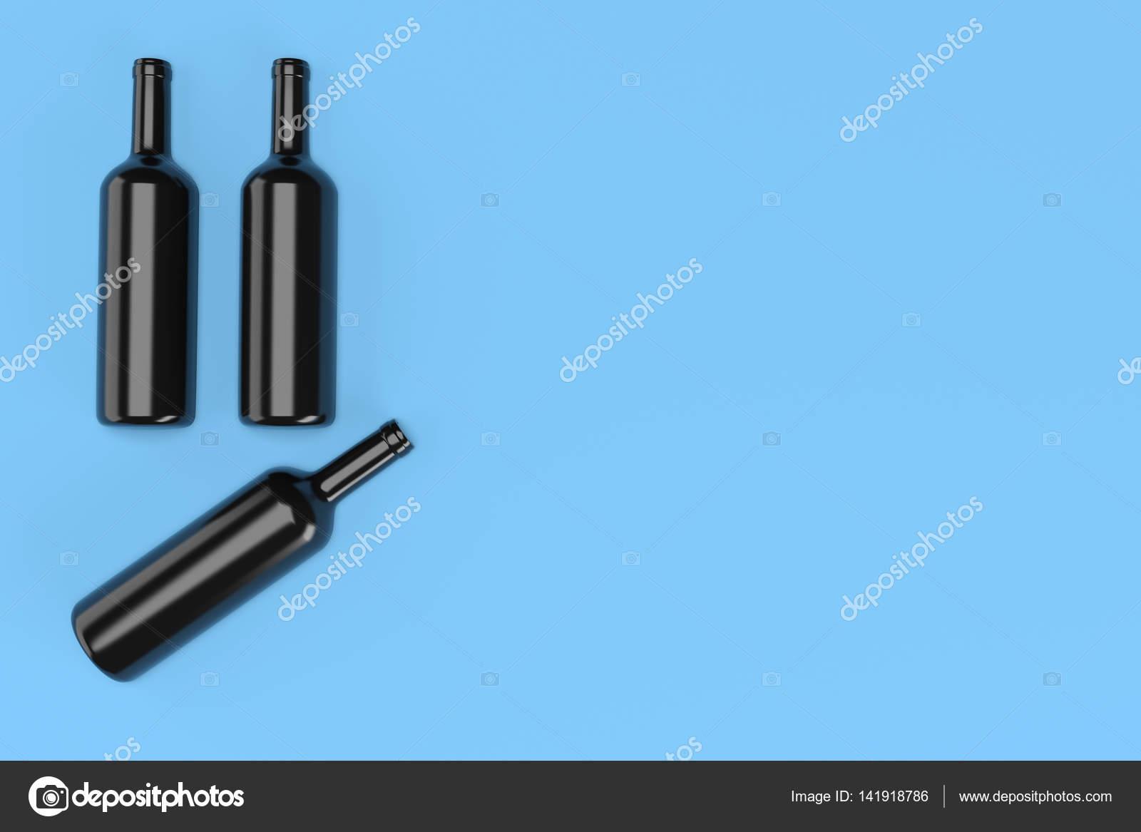 Drei Weine Küchenwand auf blauem Hintergrund — Stockfoto © AndKud ...