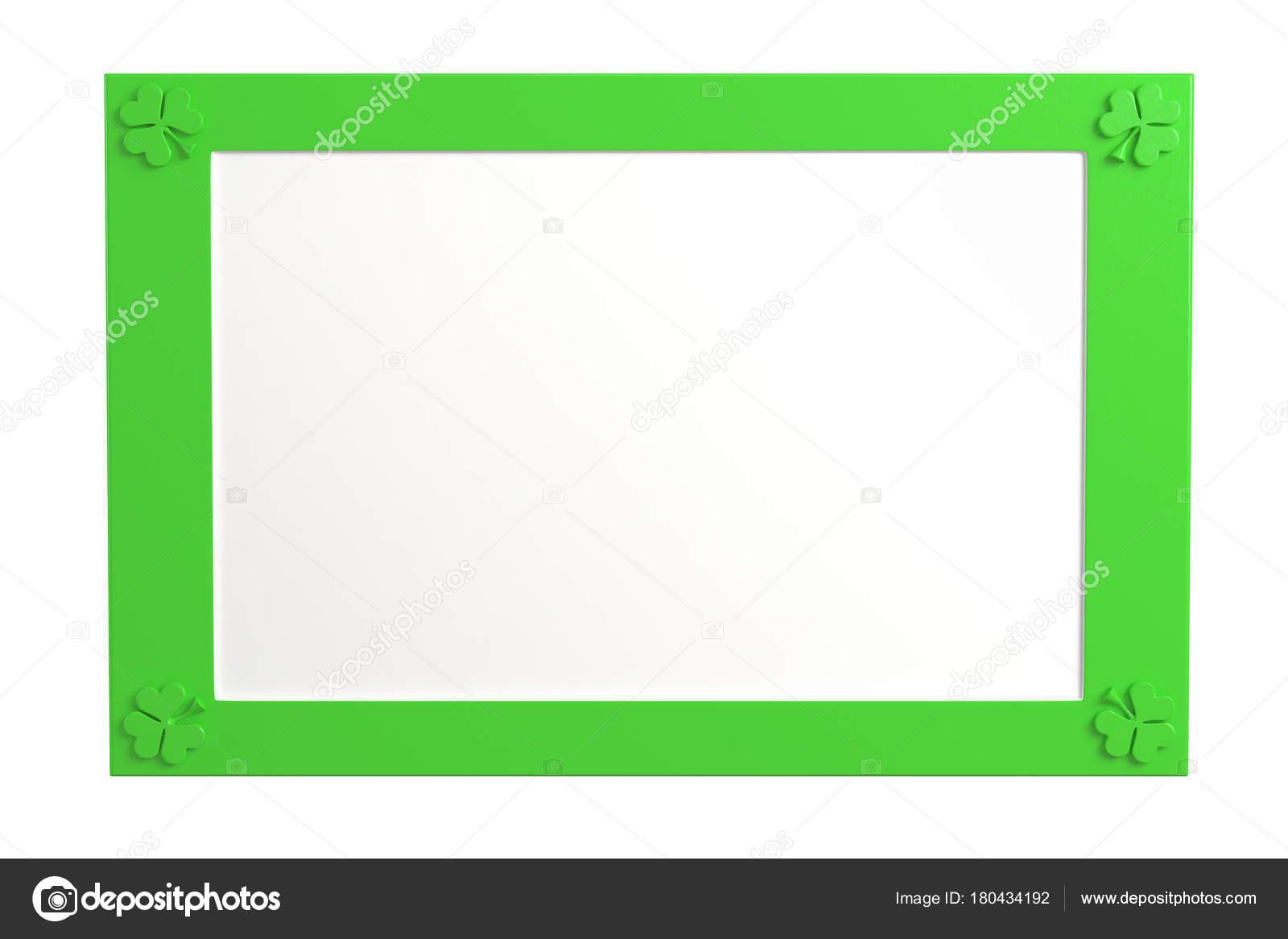 Marco verde, plástico en blanco con tres tréboles de la hoja en la ...
