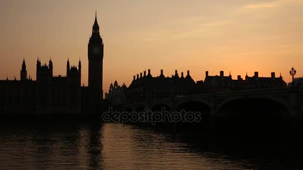 London, Big Ben silhouette at sunset