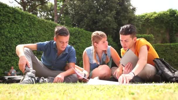 Mládež studovat dohromady v parku