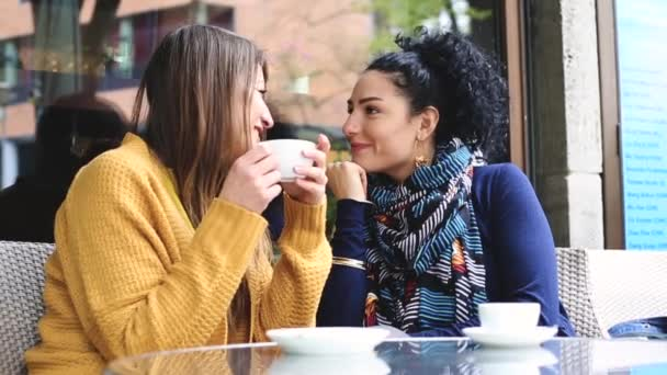 Lesbian couple having a coffee together