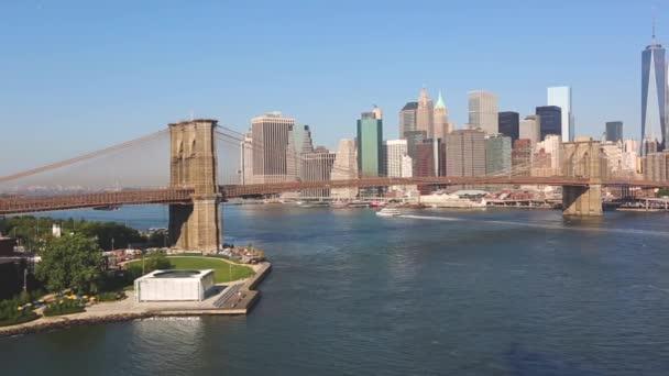 New York, Ponte di Brooklyn e orizzonte del centro
