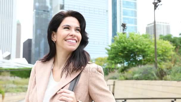 Obchodní žena portrét v Chicago downtown