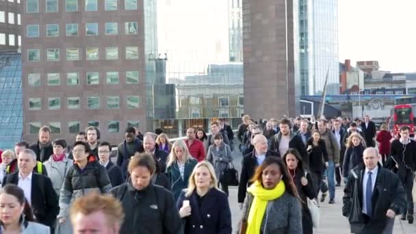 People walking in London at rush hour, slow motion
