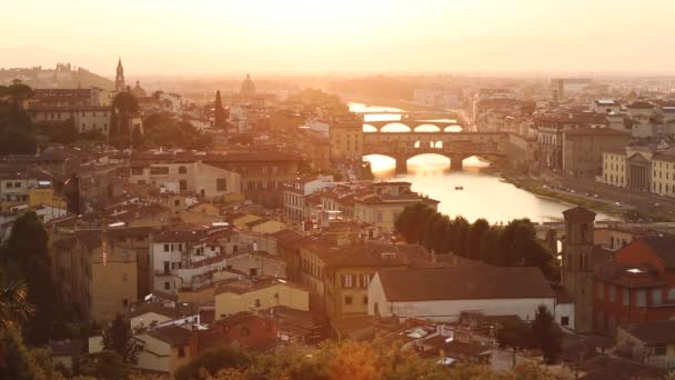 Panoramic view of Ponte Vecchio in Florence at sunset