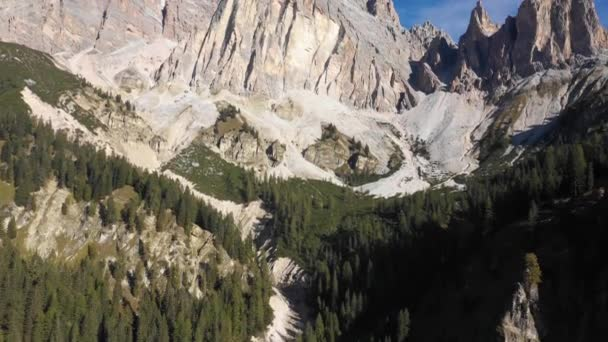 Dolomites mountains aerial view on a sunny day