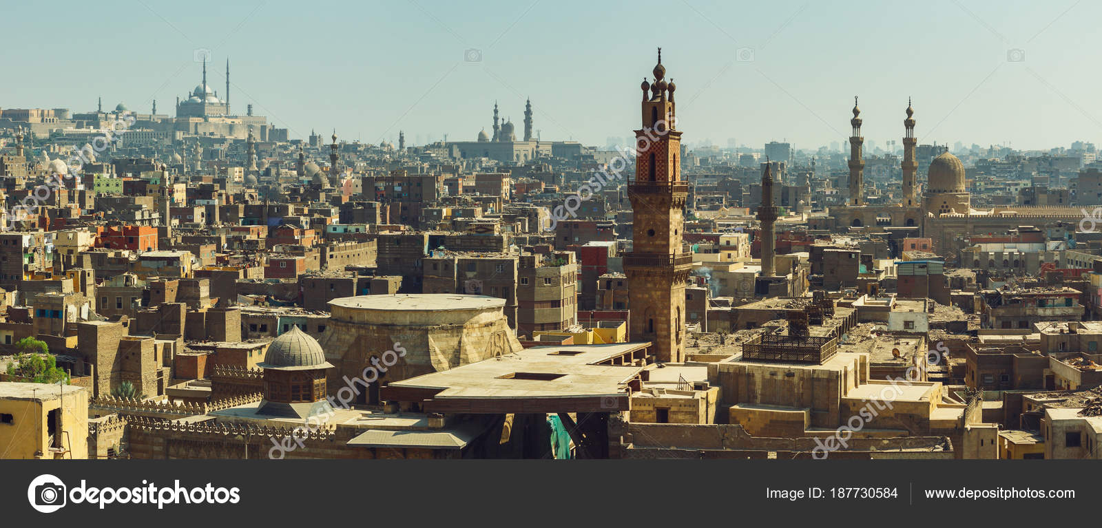 cairo panorama with view on medieval mosques — stock photo © zhugin