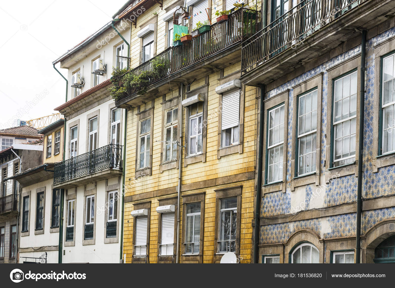 Traditional Portuguese Facade Sometimes Decorated Ceramic Tiles