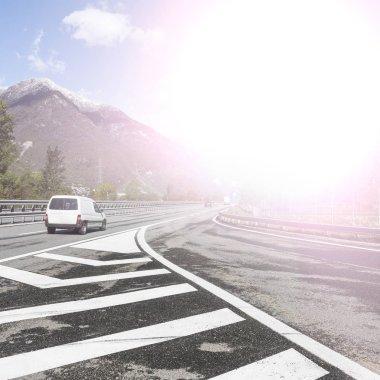 Highway traffic in Italian Alps