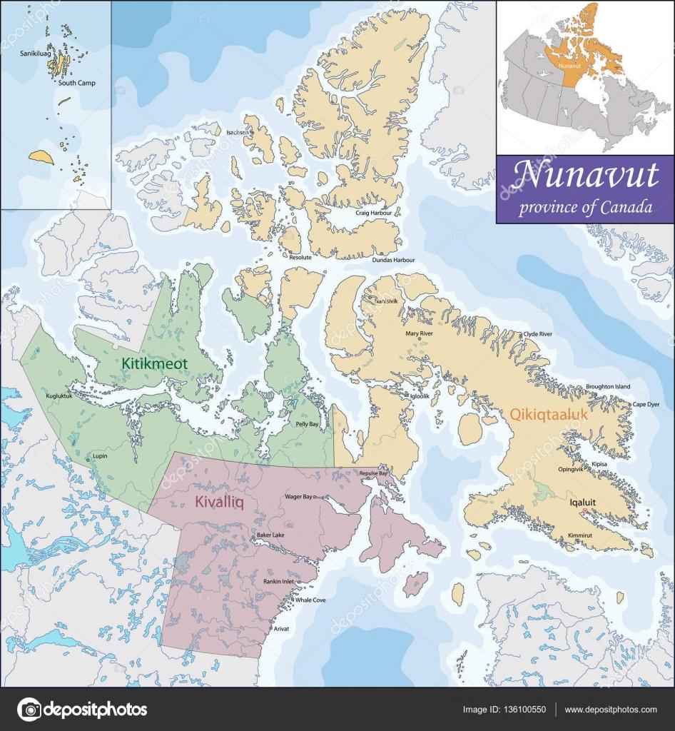 ヌナブト準州の地図 — ストック...