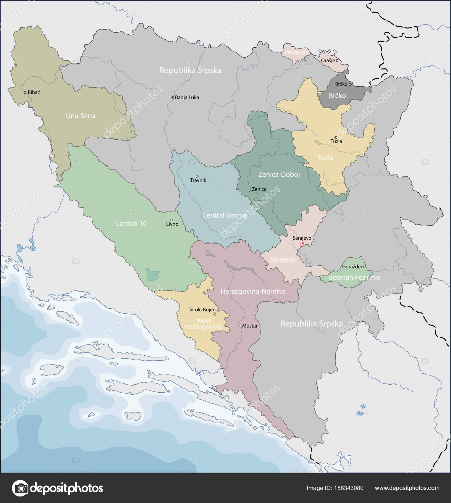 karta bosnien och hercegovina karta över Bosnien och Hercegovina — Stock Vektor © Volina #188343080 karta bosnien och hercegovina