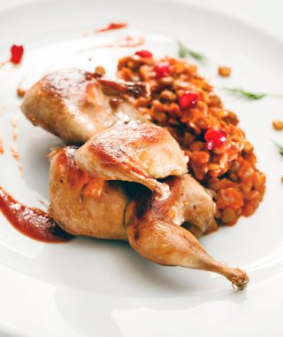 Roasted quail with dressing
