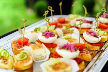 Snacks on catering table