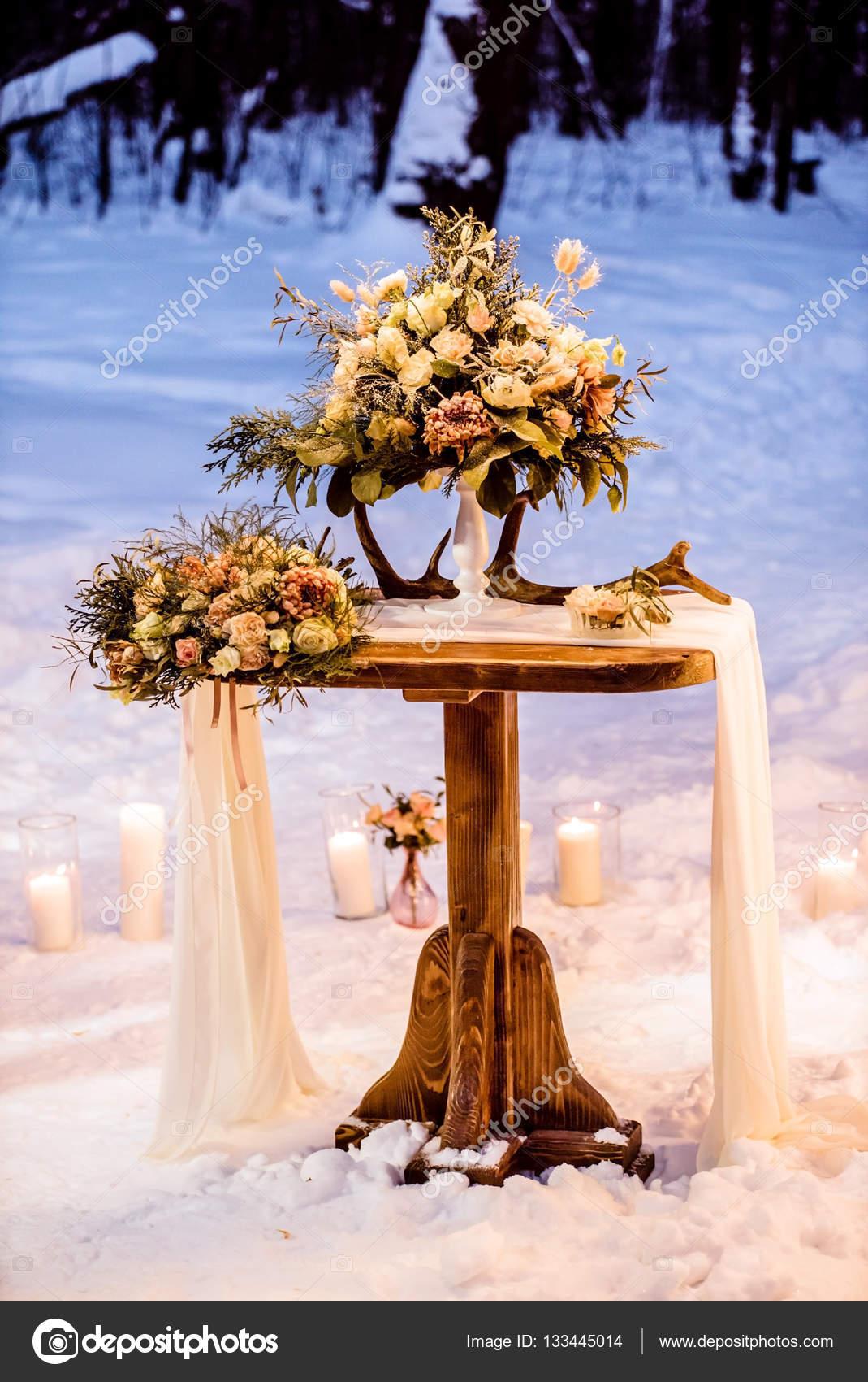 Dekoration Fur Hochzeit Im Winter Stockfoto C Shebeko 133445014