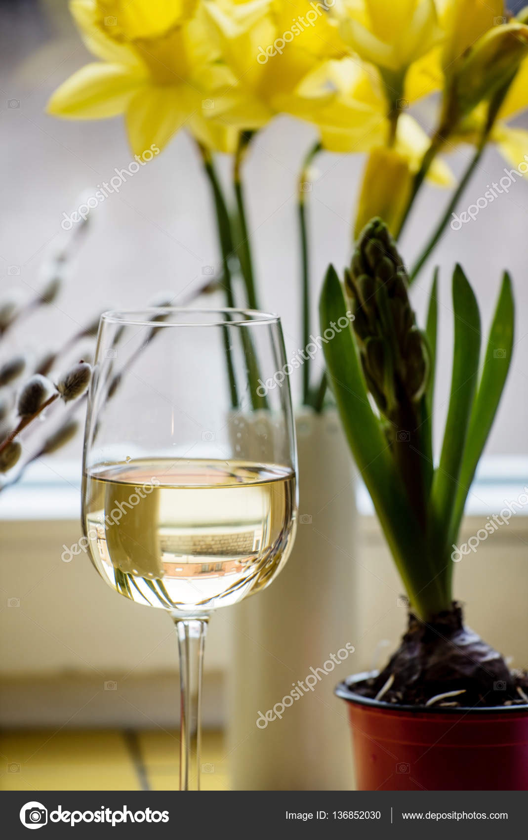 White wine with flowers stock photo shebeko 136852030 white wine with flowers stock photo mightylinksfo