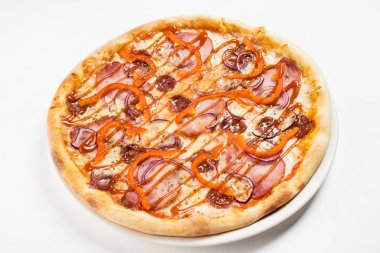 tasty pizza on white plate