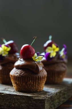 cherry cupcakes with flowers