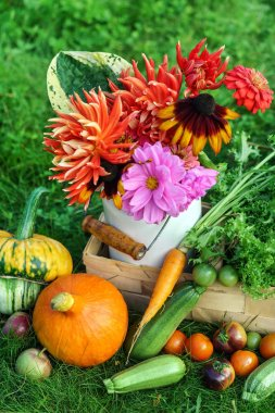 Fresh garden vegetables and flowers