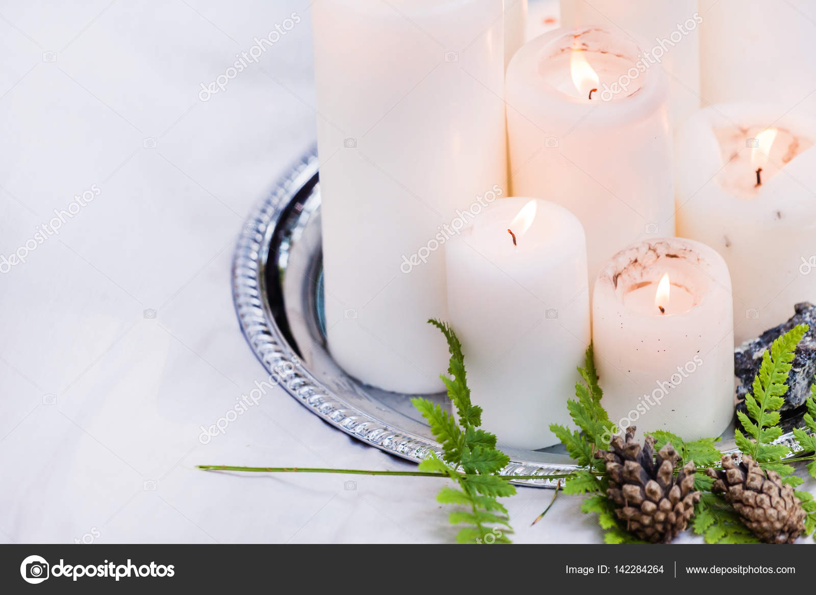 wedding decorations with candles — Stock Photo © Shebeko #142284264