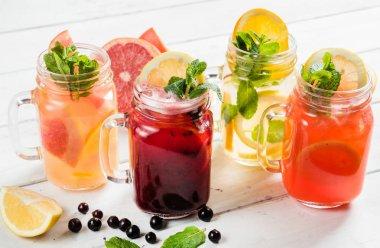 fruit summer drinks in glasses