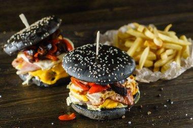 Delicious black burgers