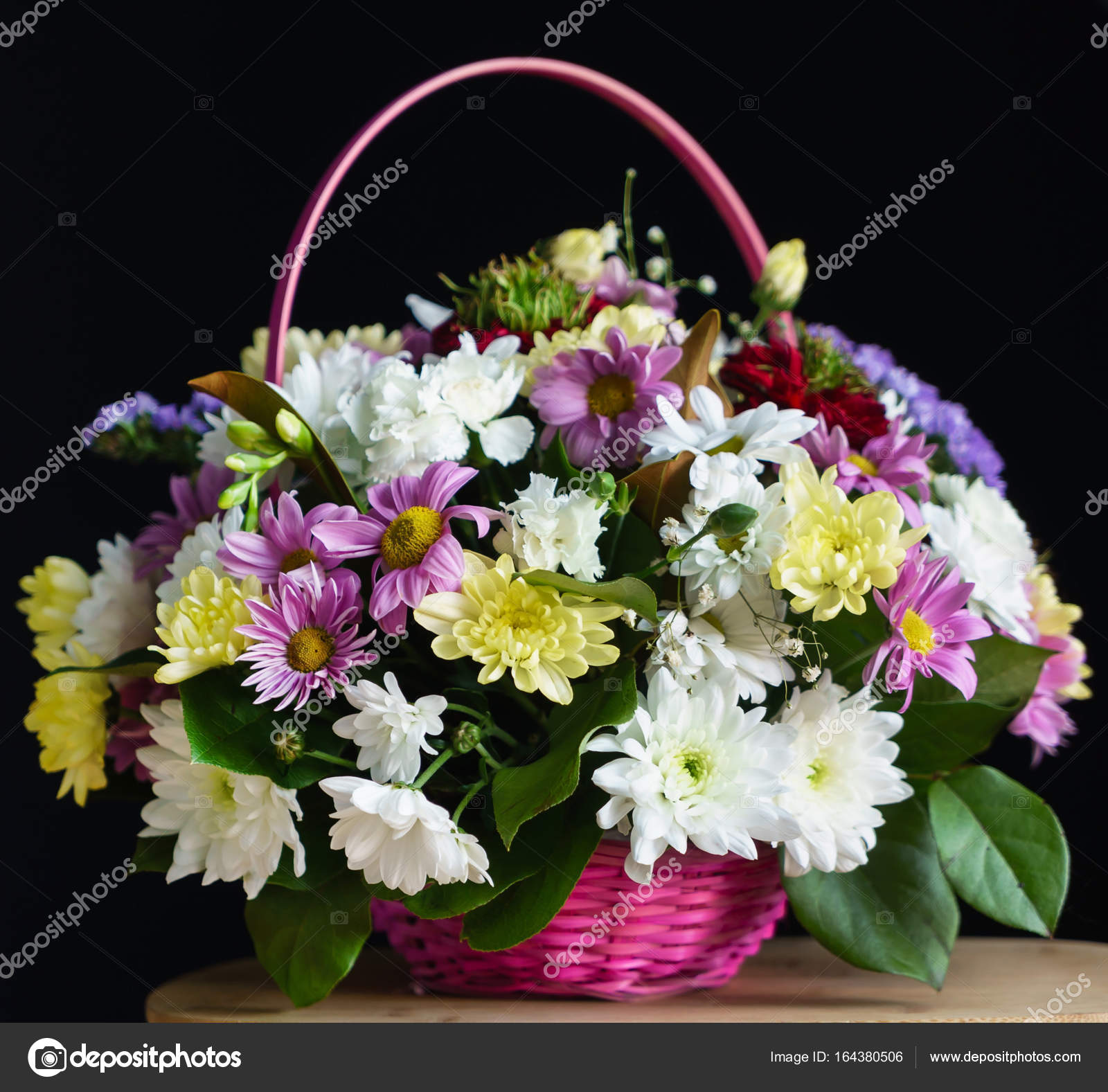 Beautiful Flowers In The Basket Stock Photo Shebeko 164380506