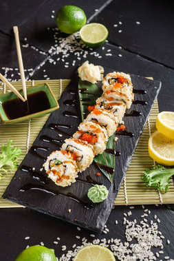 fresh made sushi with soy sauce