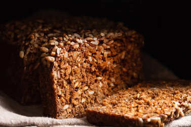 wholegrain bread with seeds, close up
