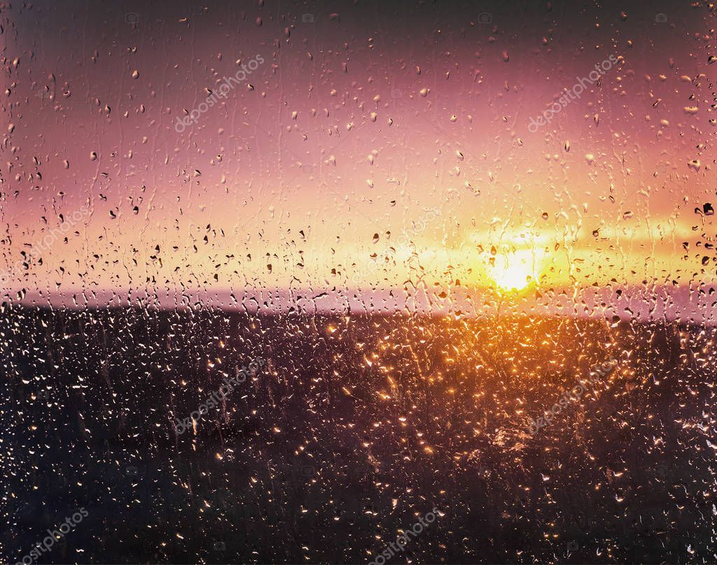 sunset in window