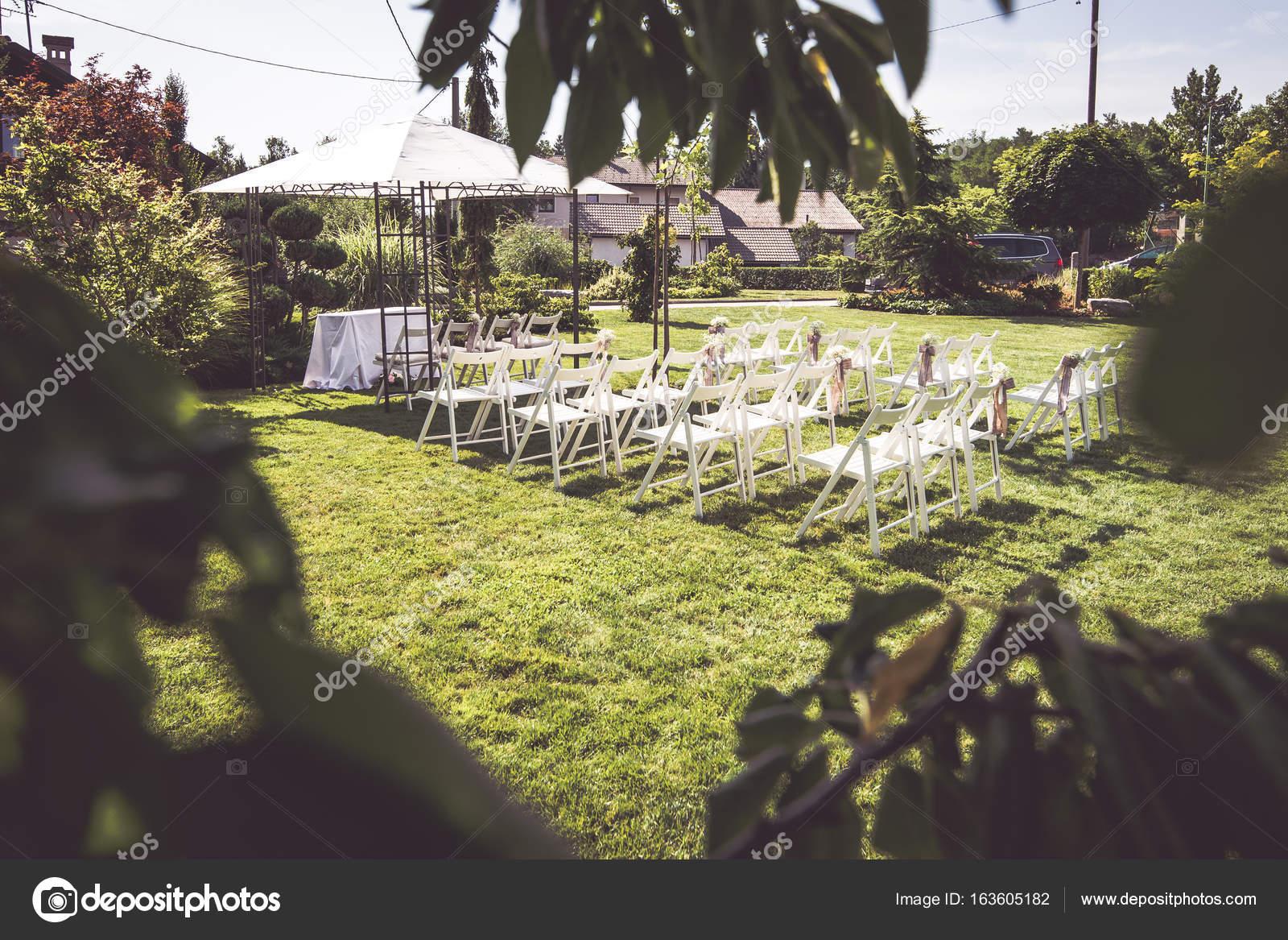 Outdoor Setup For Wedding Reception Stock Photo
