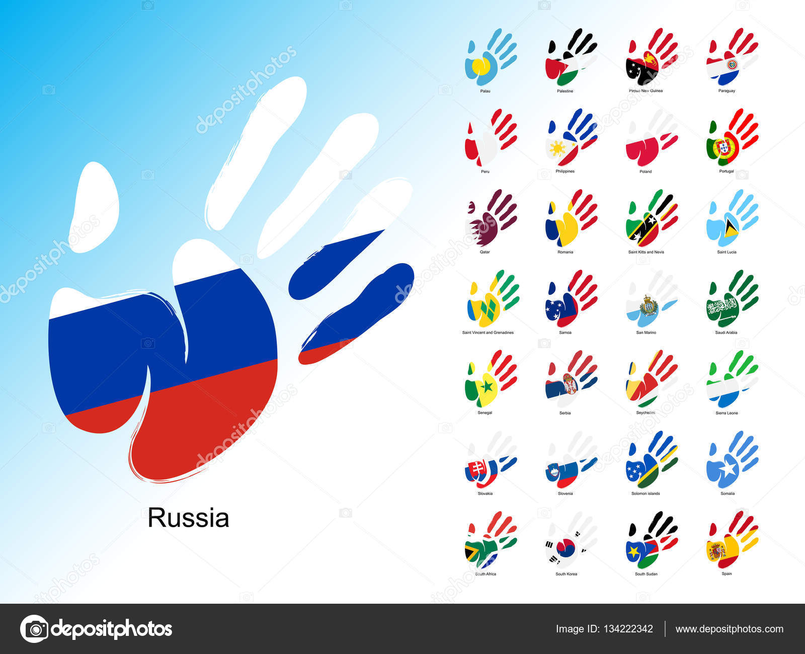 Open Human Handprint With National Flag Inside Stock