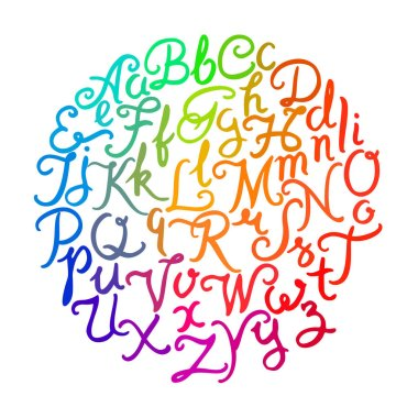 Handwritten colorful alphabet