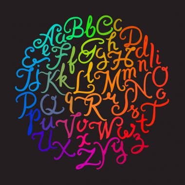 Handwritten colorful alphabet