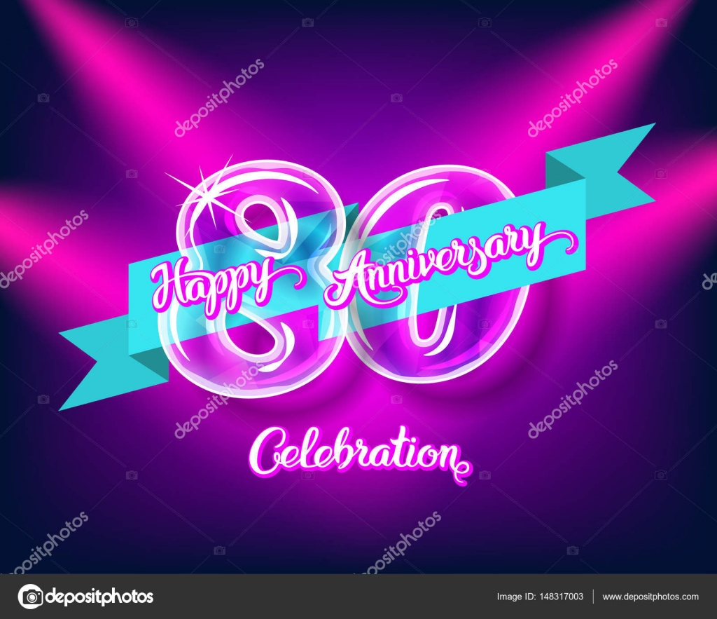 happy 80th anniversary glass bulb numbers set stock vector