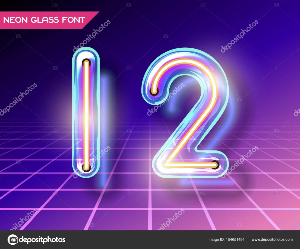 Retro Neon Glowing Glass Alphabet Font With Transparency And Shadows 3D Light Bulb Isolated Numbers 1 2 On Dark Backgrounds Vector By Nrey Ad
