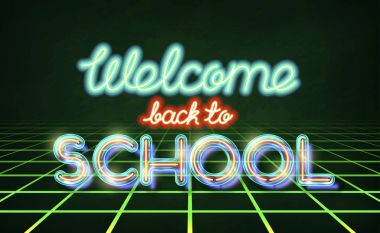 Welcome back to school retro neon