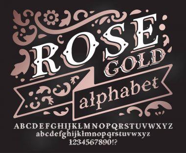 Retro rose gold Font