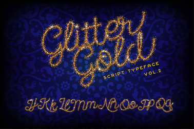 Glitter Gold Handwritten alphabet
